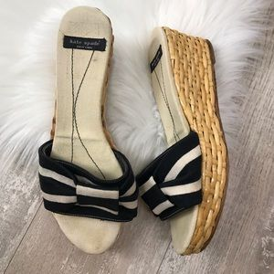 Kate Spade Cancun Ivory Black Stripe Wicker Wedge
